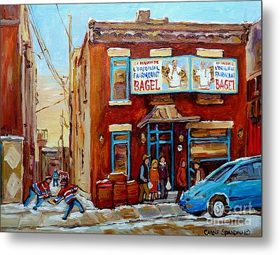 Fairmount Bagel In Winter Montreal City Scene Metal Print by Carole Spandau