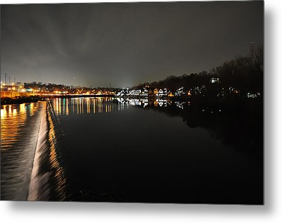 Fairmount Dam And Boathouse Row In The Evening Metal Print by Bill Cannon