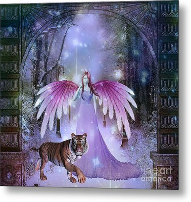Fairy And Tiger Metal Print by Jessie Art