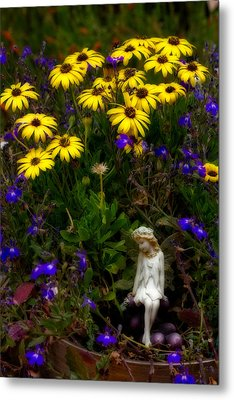 Metal Print featuring the photograph Fairy In Garden Pot by Dave Garner