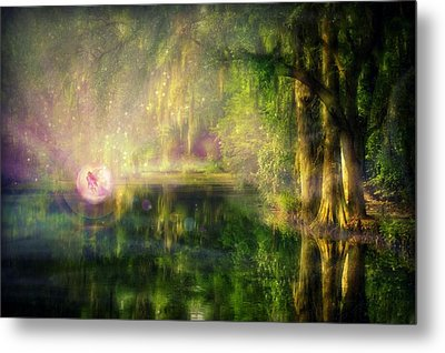 Fairy In Pink Bubble In Serenity Forest Metal Print