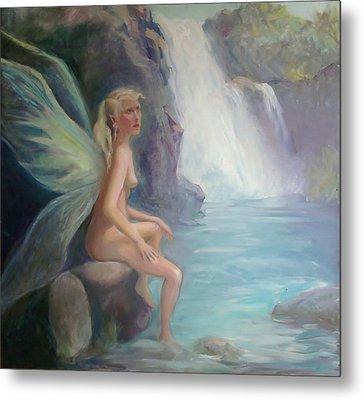 Fairy Of The Secret Falls Metal Print by Gwen Carroll