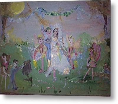 Metal Print featuring the painting Fairy Wedding by Judith Desrosiers