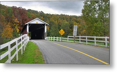 Fall At The Jacksons Mill Covered Bridge Metal Print by Dan Myers
