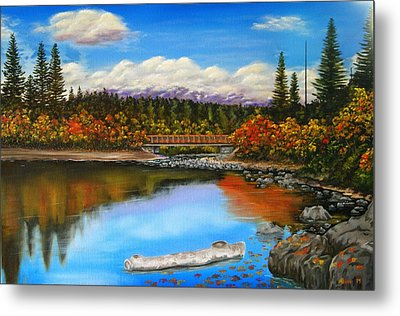 Lakeside In Autumn Metal Print