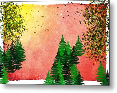 Fall Autumn Four Seasons Art Series Metal Print by Christina Rollo