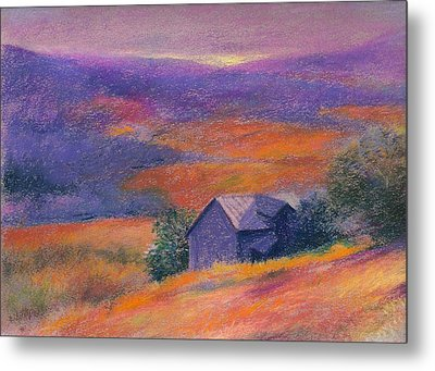Metal Print featuring the painting Fall Barn Pastel Landscape by Judith Cheng