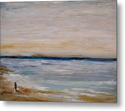 Metal Print featuring the painting Fall Beach Day 3 by Lindsay Frost