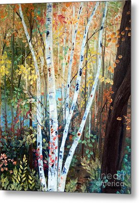 Fall Birch Trees Metal Print by Laura Tasheiko