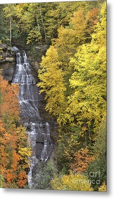 Fall Color Surrounds Chapel Falls On The Michigan Upper Peninsula Metal Print