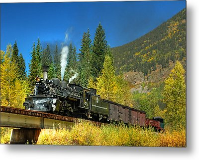 Fall Colored Bridge Metal Print by Ken Smith