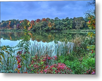 Fall Colors At Blue Hour Near Zegrze Metal Print