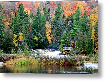 Fall Colors On The  Tahquamenon River   Metal Print by Optical Playground By MP Ray
