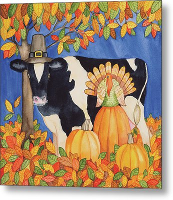 Fall Cow Metal Print by Kathleen Parr Mckenna