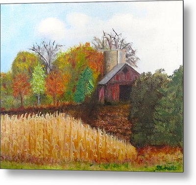 Metal Print featuring the painting Fall In Wisconsin by Sharon Schultz