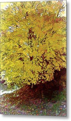 Fall In Yellow Metal Print by Larry Bishop