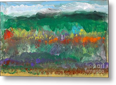 Fall Landscape Abstract Metal Print by Anne Cameron Cutri