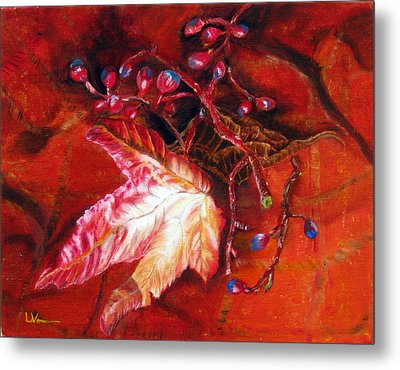 Metal Print featuring the painting Fall Leaf And Berries by LaVonne Hand