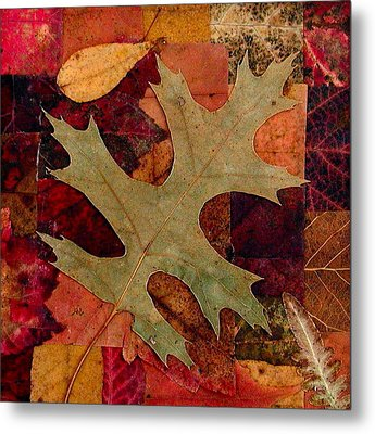 Metal Print featuring the mixed media Fall Leaf Collage by Anna Ruzsan