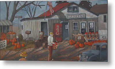 Metal Print featuring the painting Fall Market by Tony Caviston