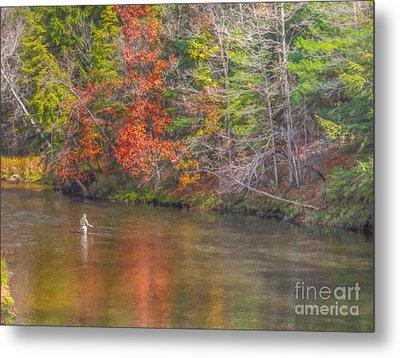 Fall Morning Fly Fishing Metal Print by Randy Steele