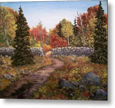 Metal Print featuring the painting Fall Path by Megan Walsh