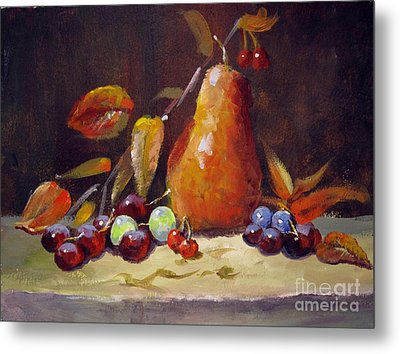 Fall Pear Metal Print
