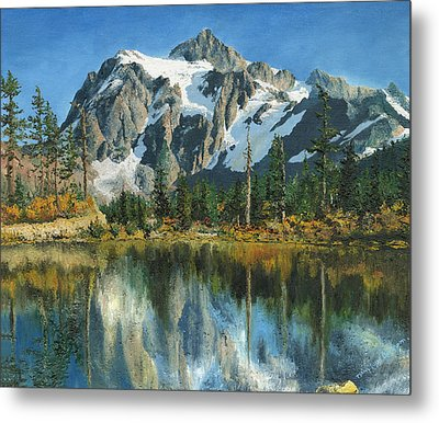 Metal Print featuring the painting Fall Reflections - Cascade Mountains by Mary Ellen Anderson