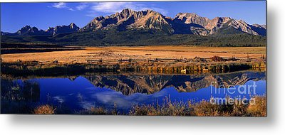Metal Print featuring the photograph Fall Reflections Sawtooth Mountains Idaho by Dave Welling
