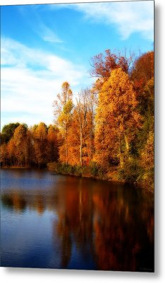 Metal Print featuring the photograph Fall Scene At Hedden Pond With Orton Effect by Eleanor Abramson