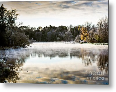 Fall Scene On The Mississippi Metal Print