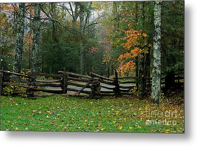 Fall Split Rail Fence Scenic Metal Print