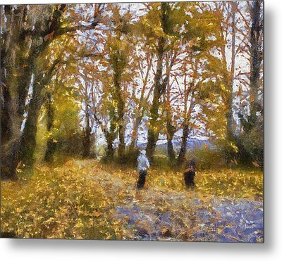 Fall Stroll Metal Print by Barry Jones