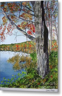 Metal Print featuring the painting Fall Tree by Carol Flagg