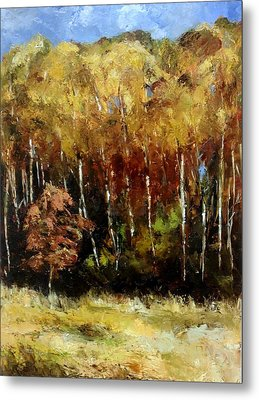 Metal Print featuring the painting Fall Trees Three by Lindsay Frost