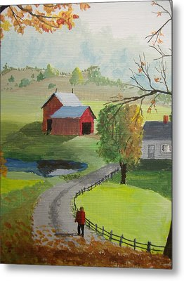 Metal Print featuring the painting Fall Walk by Norm Starks