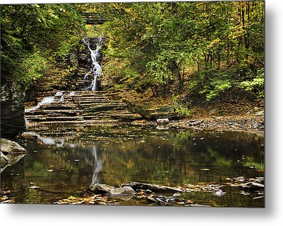 Fall Waterfall Creek Reflection Metal Print by Christina Rollo