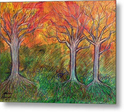 Metal Print featuring the mixed media Fall Winter Spring by Kenny Henson