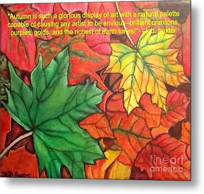 Metal Print featuring the painting Falling Leaves 1 Painting With Quote by Kimberlee Baxter