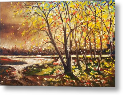 Metal Print featuring the painting Falling Leaves by Emery Franklin