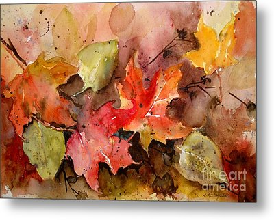 Metal Print featuring the painting Falling by Sandra Strohschein