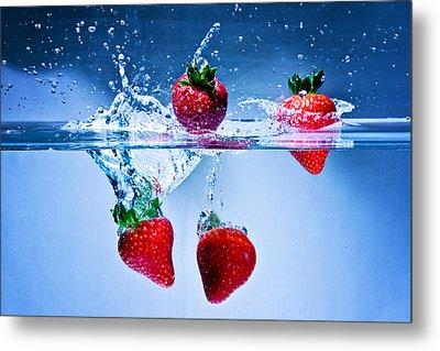 Falling Strawberries Metal Print