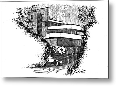 Metal Print featuring the drawing Falling Water by Calvin Durham
