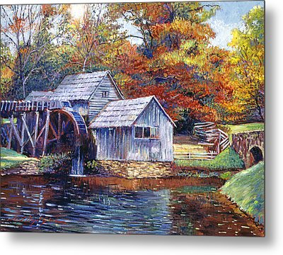 Falling Water Mill House Metal Print by David Lloyd Glover