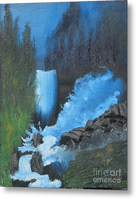 Falls On The Rocks Metal Print by Dave Atkins