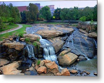 Falls Park Waterfall At Dawn In Downtown Greenville Sc Metal Print