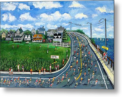 Falmouth Road Race Running Falmouth Metal Print by Rita Brown