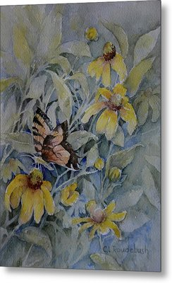False Sunflower And Butterfly Metal Print by Cynthia Roudebush