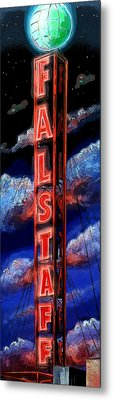 Falstaff Neon Tower Sign Metal Print by Terry J Marks Sr