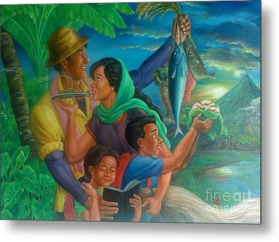 Family Bonding In Bicol Metal Print by Manuel Cadag